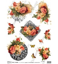 Decomania Transfer Paper - Mixed Roses & Butterflies - Cod.TRA017