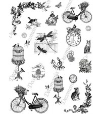 Decomania Transfer Paper - Bicycle & Birds - Cod.TRA023