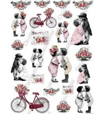Decomania Transfer Paper - Baby Children Kissing & Bikes - Cod.TRA048