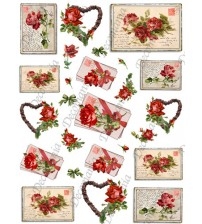 Decomania Transfer Paper - Garland Rose Hearts Letters Poems - Cod.TRA050