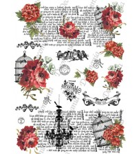 Decomania Transfer Paper - Anonymous Peonies Written - Cod.TRA075