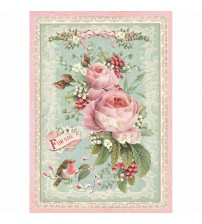 Decoupage Stamperia - A4 Rice Paper - Pink Christmas Rose