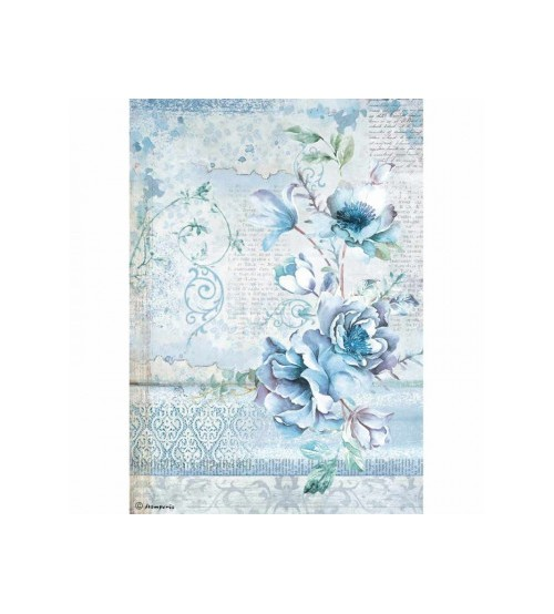 Decoupage Stamperia - A4 Rice Paper - Blue Land Flower