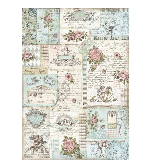 Decoupage Stamperia - A3 Rice Paper - Angles and roses