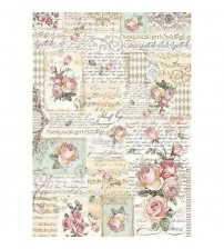 Decoupage Stamperia - A3 Rice Paper - Roses and Manuscripts