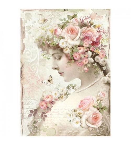Decoupage Stamperia - A4 Rice Paper - Floreai Profile Roses