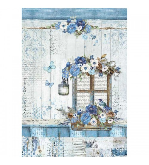 Decoupage Stamperia - A4 Rice Paper - Blue Land Window