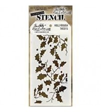 Stencils-Tim Holtz Layering Stencil - Holly Bough