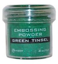 Medium & Paste-Embossing Powder Green Tinsel