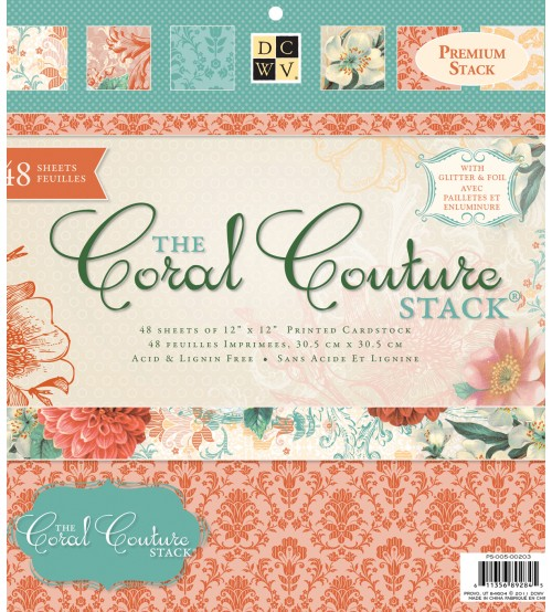 DCWV - The Coral Couture Stack Scrapbook Paper Pad