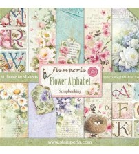 "Stamperia-Flower Alphabet 12""×12"" Scrapbook Papers"