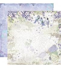 "Stamperia -Flower Alphabet Birds In Violet -Double Sided Paper 12""×12"""