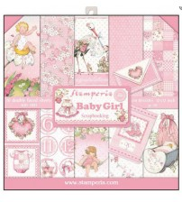 """Stamperia - New Baby Girl 12""""×12"""" Scrapbook Papers"""