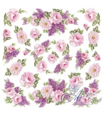 Decoupage Stamperia - Rice Paper - Pink Flowers - 50x50cms