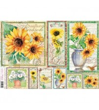 Decoupage Stamperia - Rice Paper - Postage Sunflowers - 48X33cms