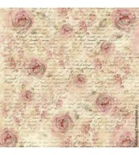 Decoupage Stamperia - Rice Paper - Flowers and Script - 50x50cms