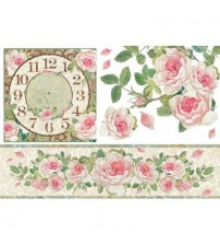 Decoupage Stamperia - Rice Paper - Clock With Border Of Roses - 48X33cms