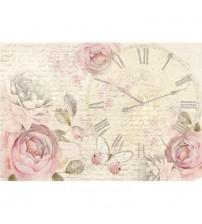 Decoupage Stamperia - Rice Paper - Shabby Roses Clock - 48X33cms