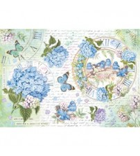 Decoupage Stamperia - Rice Paper - Hydrangeas & Birds - 48X33cms