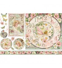 Decoupage Stamperia - Rice Paper - Clock With Fairy - 48X33cms