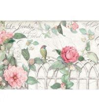 Decoupage Stamperia - Rice Paper - Garden With Roses & Bird - 48X33cms