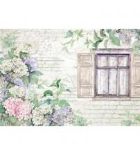 Decoupage Stamperia - Rice Paper - Hydrangeas & Window - 48X33cms