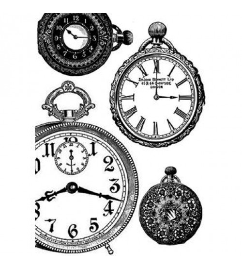 Decoupage Stamperia - A4 Rice Paper - Black & White Clocks - 21X29cms