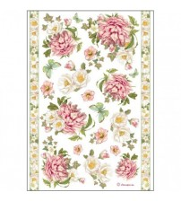 Decoupage Stamperia - A4 Rice Paper - Flowers & Borders - 21x29cms