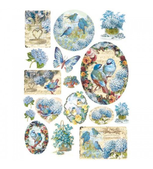 Decoupage Stamperia - A4 Rice Paper - Birds & Light Blue Butterfly