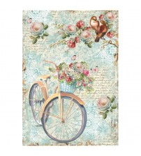 Decoupage Stamperia - A4 Rice Paper - Bike & Branch with flowers