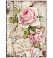 Decoupage Stamperia - A4 Rice Paper - Sweet Time Roses