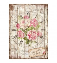 Decoupage Stamperia - A4 Rice Paper - Sweet Time Clock Bouquet