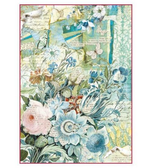 Decoupage Stamperia - A4 Rice Paper - Blue Flower Bouquet