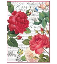 Decoupage Stamperia - A4 Rice Paper - Red Rose & Music