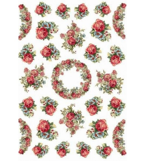 Decoupage Stamperia - A4 Rice Paper - Red Flowers - 21x29cms