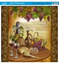 Litoarte - Arte Francesa Quad -  Bread, Cheese ,Grapes, Wine