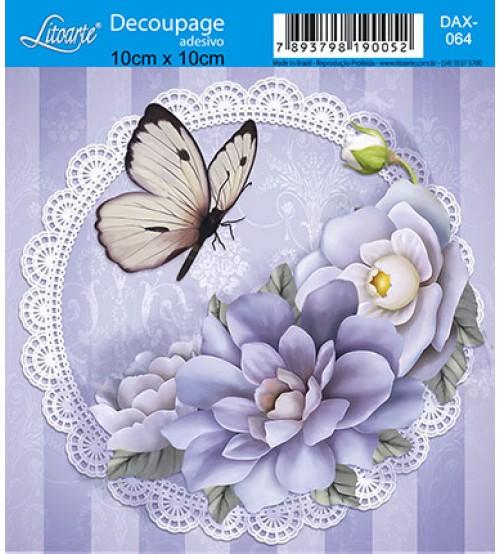 Litoarte - Decoupage Adesivo - Gialo Com Flores Lisases