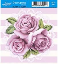 Litoarte - Decoupage Adesivo - Rosas Shabby + Fundo Listrado (10x10 cms)