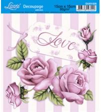 Litoarte - Decoupage Adesivo - Rosas Shabby + Fundo Listrado
