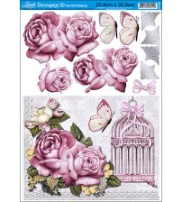 Litoarte - Decoupage Hot 3D - Roses & Gaiola