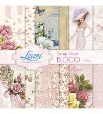 Litoarte - Scrap Decor Bloco - Shabby : Rosas, Gaiola, Flores