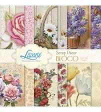 Litoarte - Scrap Decor Bloco - Vintage : Rosas, Margaridas, Violetas