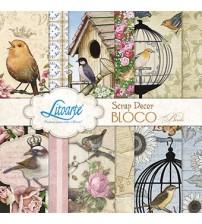 Litoarte - Scrap Decor Bloco - Passaros, Gaiolas, Flores