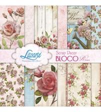 Litoarte - Scrap Decor Bloco - Borboletas, Flores, Vaso