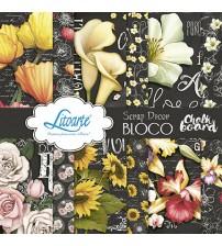 Litoarte - Scrap Decor Bloco - Quadro Negro E Flores