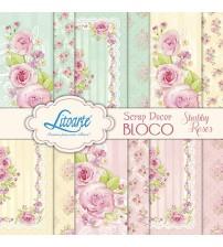 Litoarte - Scrap Decor Bloco - Flores Shabby Chic
