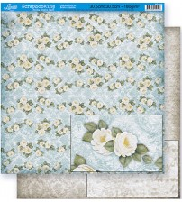 Litoarte - Double Faced Scrap - Floral Rosa White / Ornaments