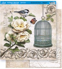 Litoarte - Double Face Scrap - Peonies , Bird , Cages
