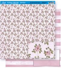 Litoarte - Double Face Scrap -  Flowers / Stripes