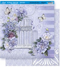 Litoarte - Double Face Scrap - Gaiola White C/ Flowers